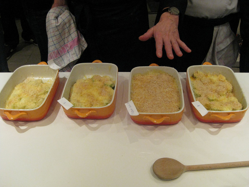 four groups, four vastly different leek gratinée dishes with Bechamel sauce