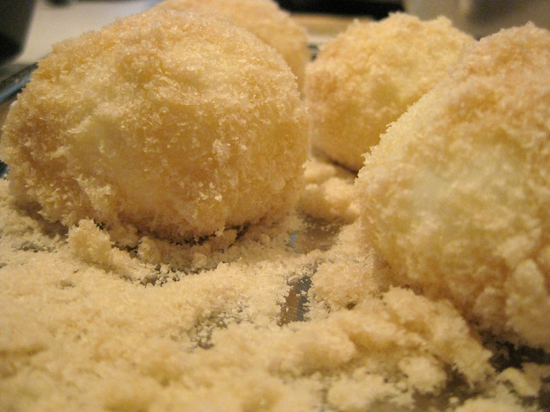 soft boiled eggs, rolled in panko, ready for 1 min deep fry