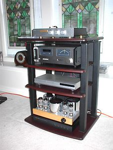 Now playing in the upstairs gameroom: Musical Experience Symphonies + preamp, modded Mitsubishi vintage tuner, modded Toshiba 3950 CD/DVD player, Consonance Ella KT-88 amplifier, Atlantis equipment rack, Home Depot speaker cables sprinkled with magic dust for psychoacoustic enhancement of details.