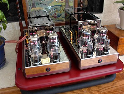 "Audio Mirror ""Eargasm"" series 40 watt class A parallel single ended triode 6C33C monoblock amplifiers"