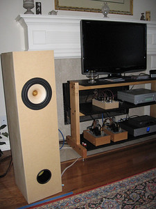 Bottlehead Quickie battery powered preamp, Bottlehead Paramour 2A3 amps, Brines Acoustics TT-2000 full range single driver speaker using the Tang Band W8-1772 driver.
