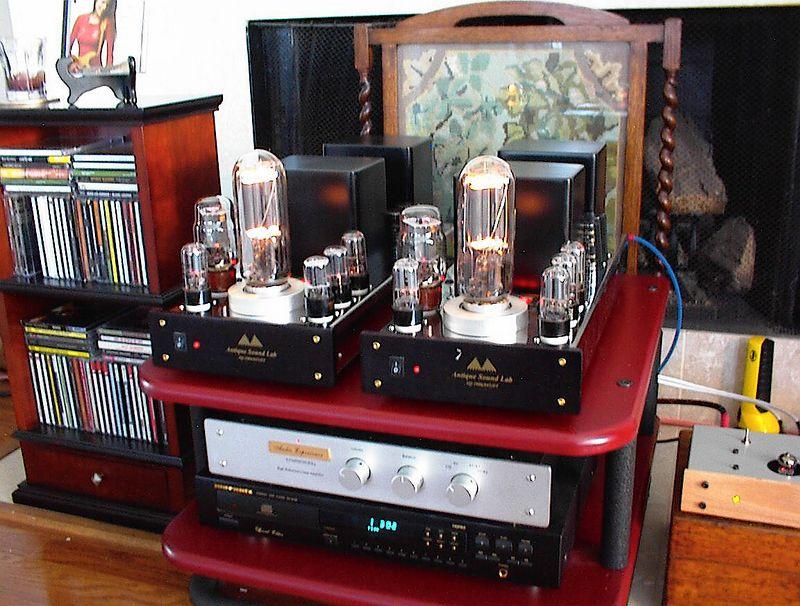 Antique Sound Lab AQ1006 monoblocks with 845 output tubes, KT66 voltage regulators, plus four 6SN7's. Twenty two glorious single ended watts.