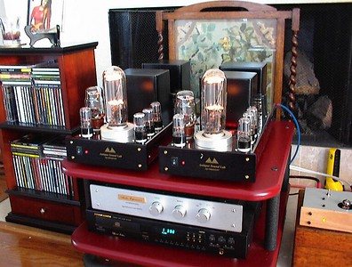 Antique Sound Lab AQ1006 monoblocks with 845 output tubes, KT66 voltage regulators, plus four 6SN7's. Twenty two glorious single ended watts.