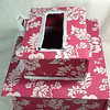 "This is a double layered card box.  It is two pink and white boxes stacked upon each other.  They are kept closed by white gingham ribbons on each box.  With these same closures, you can open both boxes.  The two boxes in total are measuring at an 8 ½"" height.  The small box on top is measuring at 8 1/8"" x 6 2/8"" x 3 2/8"".  The larger bottom box is measuring at 12 1/8"" x 10 2/8"" x 4 ½"".  As I mentioned, this box was not completed in time for my friend's shower so it is brand new.  It has merely been kept in the closet. I am asking $10 for the card box."