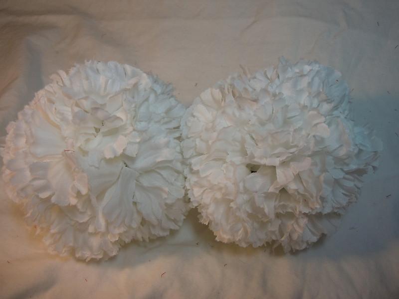 2 medium white carnation pomanders. Medium Pomanders, $3 each