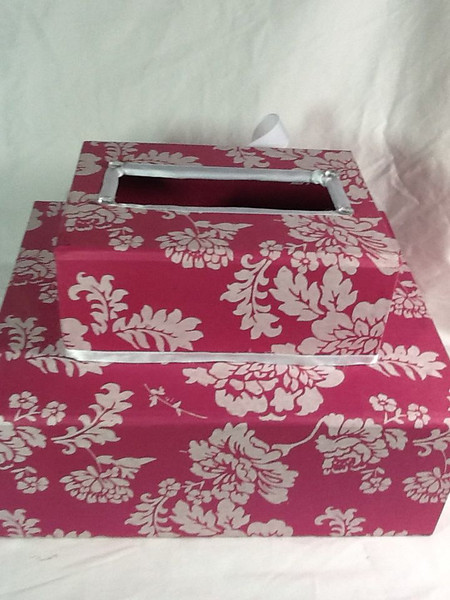 """This is a double layered card box.  It is two pink and white boxes stacked upon each other.  They are kept closed by white gingham ribbons on each box.  With these same closures, you can open both boxes.  The two boxes in total are measuring at an 8 ½"""" height.  The small box on top is measuring at 8 1/8"""" x 6 2/8"""" x 3 2/8"""".  The larger bottom box is measuring at 12 1/8"""" x 10 2/8"""" x 4 ½"""".  As I mentioned, this box was not completed in time for my friend's shower so it is brand new.  It has merely been kept in the closet. I am asking $15 for the card box."""