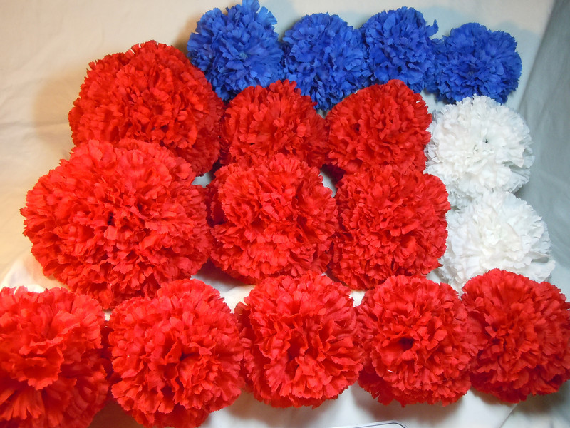 17 Carnation Floral Pomanders.  All new.  There are no ribbons to hang them with but will add a white or black ribbon if you would like. 2 Large red, 4 medium red, 5 small red, 2 medium white, and 4 medium blue.  Large Pomanders, $4 each.  Medium Pomanders, $3 each.  Small Pomanders, $2 each.  Buy all 17 pomanders, total package will sell for $30