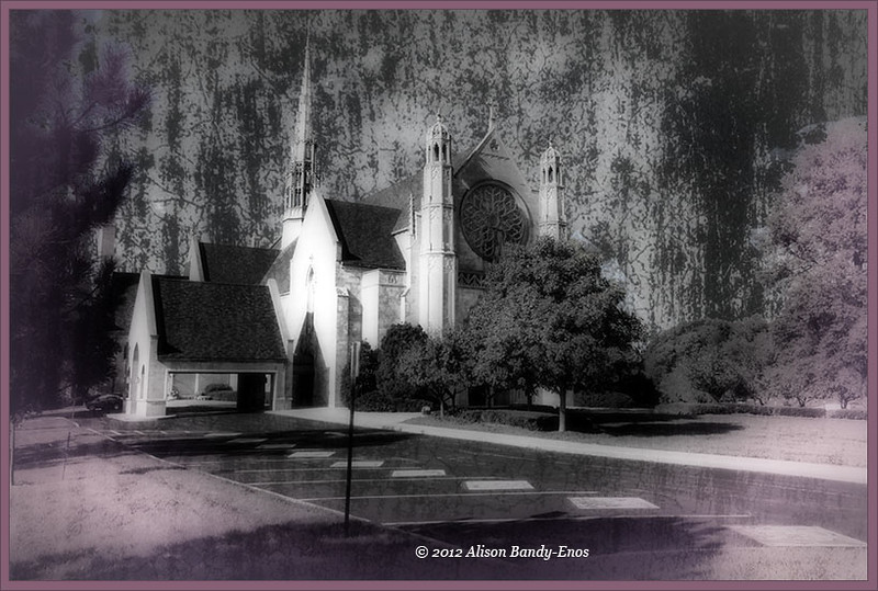 "Church on North Meridian St. in Indianapolis  This is Ali's favorite.  Everything done as for the ""Deep Forrest"" vesion, except while in Perfect Effects, a layer was added and filtered with the Daguerreotype filter on top of the ""Deep Forrest"" filter."