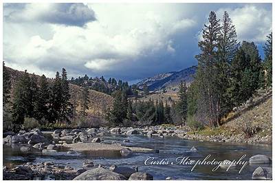Lower slough creek. This is what it looks like just before you get drenched by a thunder storm. It was clear when we started. We were two hours from the car. Fortunately We were dressed for it. It had come and gone back to good weather by the time we got back. The fishing was great!