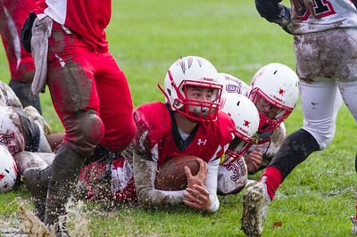 Justin Meczywor looks up for the referee's signal after splashing to a touchdown in Hoosac's 32-0 win Saturday over Commerce.