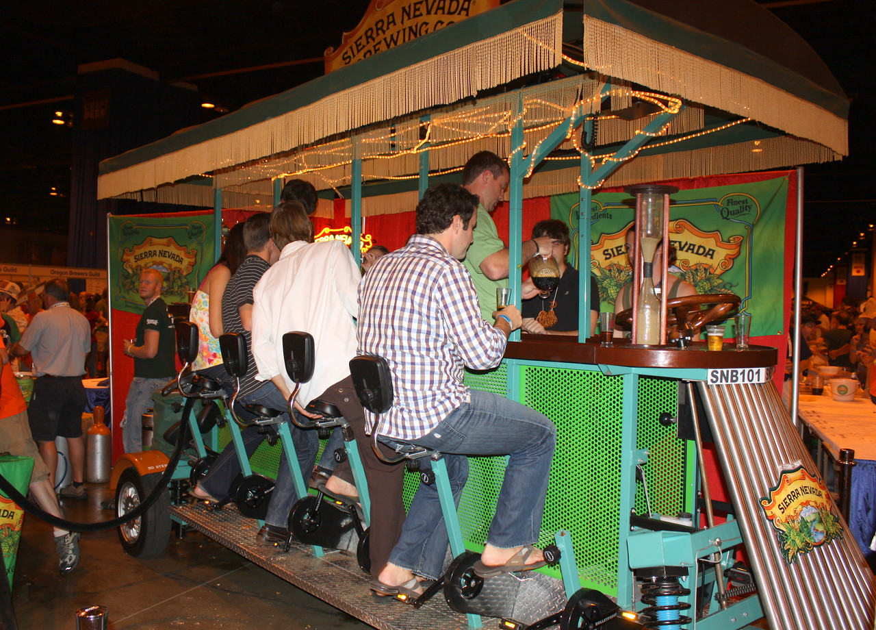 Sierra Nevada's street car display.  Folks sit and peddle which I think helps either carbonate or pump the beer from the kegs.