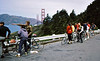 People: Charlie Larribeau, Seiji Kawamura, ? , Patty Kline in red warmup, ???<br /> Subject: <br /> Place: SF thru Presideo<br /> Activity: GPP ride-SF Tour<br /> Comments: <br /> 4*Sun, Apr 9, 1972