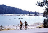 People: Pierre, Jan Edwards (a friend)<br /> Subject: Lake Alpine<br /> Place: Ebbets Pass<br /> Activity: bike<br /> Comments: Hockey helmet, used self-timer. Jan's idea for this ride.  Our spouses and kids stayed at motel with tennis courts and golf course(at Arnold?, on Hwy 4?)<br /> 3*Sat, Sep 15, 1973