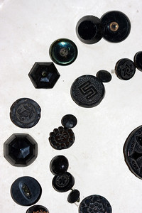 Details of the Victorian black glass buttons.