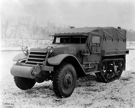 Title:  International M-5 half-track personnel carrier <br /> <br /> Description:  International M-5 half-track personnel carrier manufactured at International Harvester's Springfield Works for the U.S. military.<br /> <br /> Wisconsin Historical Images Image ID:  23475 <br /> <br /> Creation Date: 1943