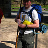 Harpers Ferry Hike: Joe stops for some drugs while I address a hot spot ~2 miles in.