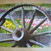 Wagon wheel with tulips
