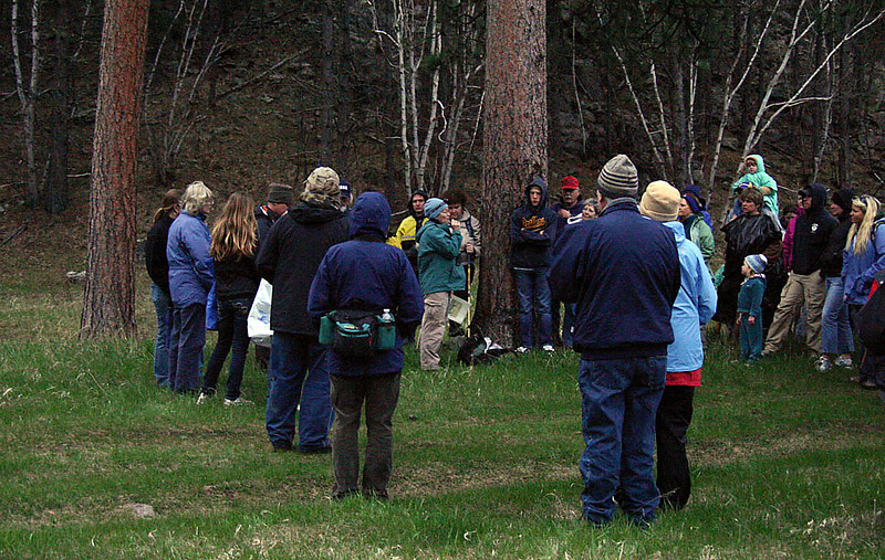 Under one of the larger trees, Nancy gave a brief summary about owls, including the types we'd be trying to hear during the evening.