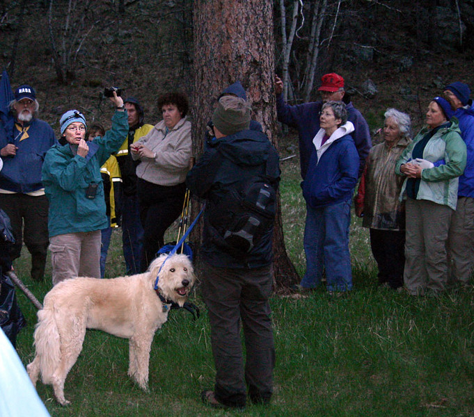 Nancy Drilling used her recording/playback device -- and the portable sound system -- to share the calls of the four owl types she had described.  Despite the technical challenges of this arrangement, it seemed to work fairly well.  Nice looking dog!  We liked his camera, too!