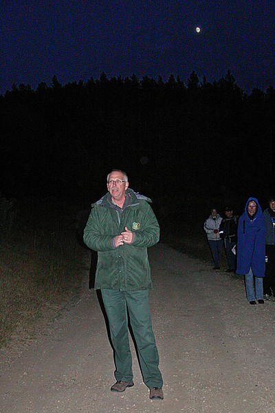 "David Slepnikoff of the Mystic Ranger District of the Black Hills National Forest welcomed our Moon Walkers again this month, ""subbing"" for Amy Ballard, who has been facilitating the walks since their inception."