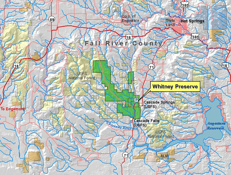 This map, courtesy of the Nature Conservancy, shows the location of the Whitney Preserve, relative to Hot Springs and Angostura Reservoir.<br /> <br /> Remember, you may click on the image to see a larger version!