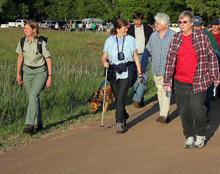 "Botanist Jill Larson of the Northern Hills Ranger Station in Spearfish (at left) led the 140 people who turned out for a ""walk in the woods"" on this gorgeous June evening."