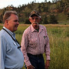 Bob Paulson (left) is no stranger to the Black Hills National Forest Moon Walks.  He is with the Nature Conservancy, which has hosted several walks over the years, including one last year to the Conata Basin region near the Badlands.<br /> <br /> At right is Mo Lamphere of Cascade Springs, who was a firefighter in the Alabaugh Fire.