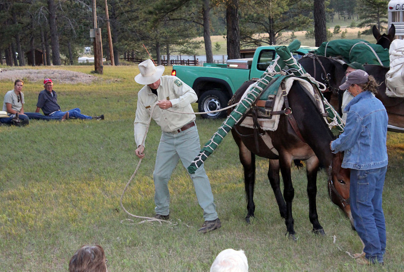Glenn Ryan demonstrates a technique of working with mules.