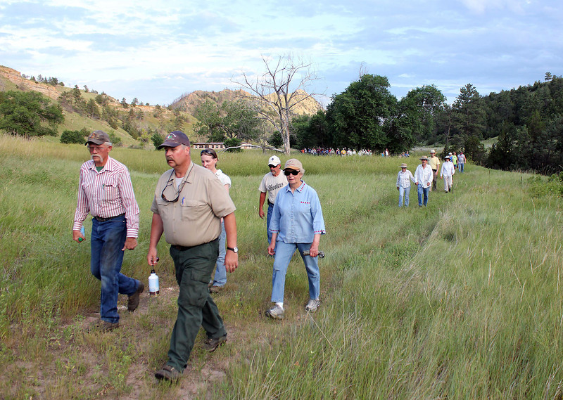 Mo Lamphere and Al Stover set the pace for the early part of the Moon Walk on the Whitney Preserve.