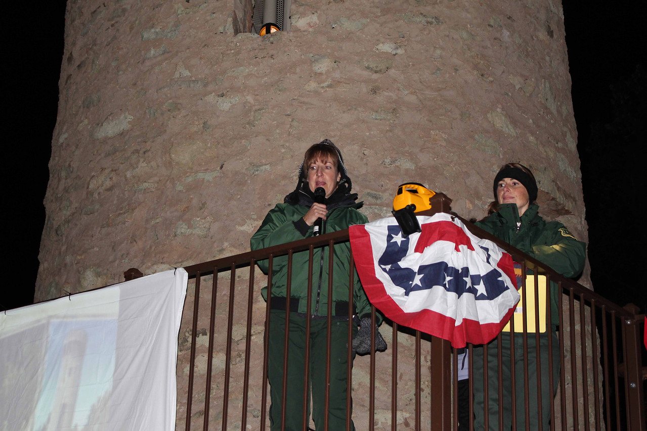That's Ranger Amy Ballard on the left, and Forest Service archaeologiest ____ on the right.<br /> <br /> Amy has been involved in planning and implementing the Moon Walks since they began some 17 years ago.