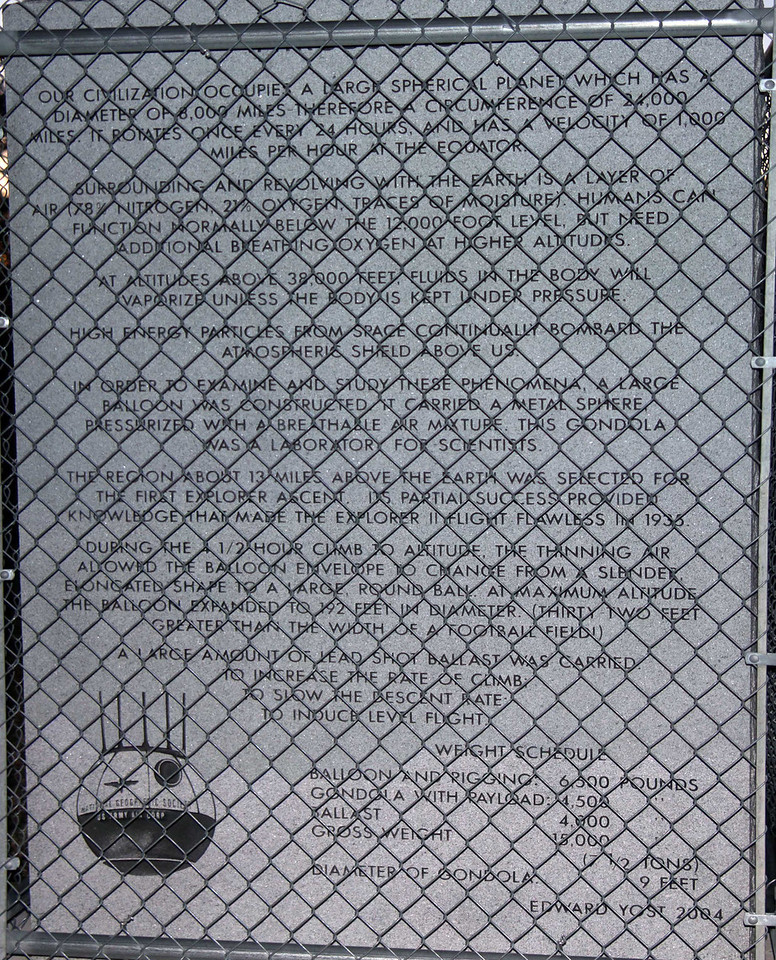 Hot air balloon developer Ed Yost prepared this information, which is inscribed in stone at a site on the rim of the Stratobowl.