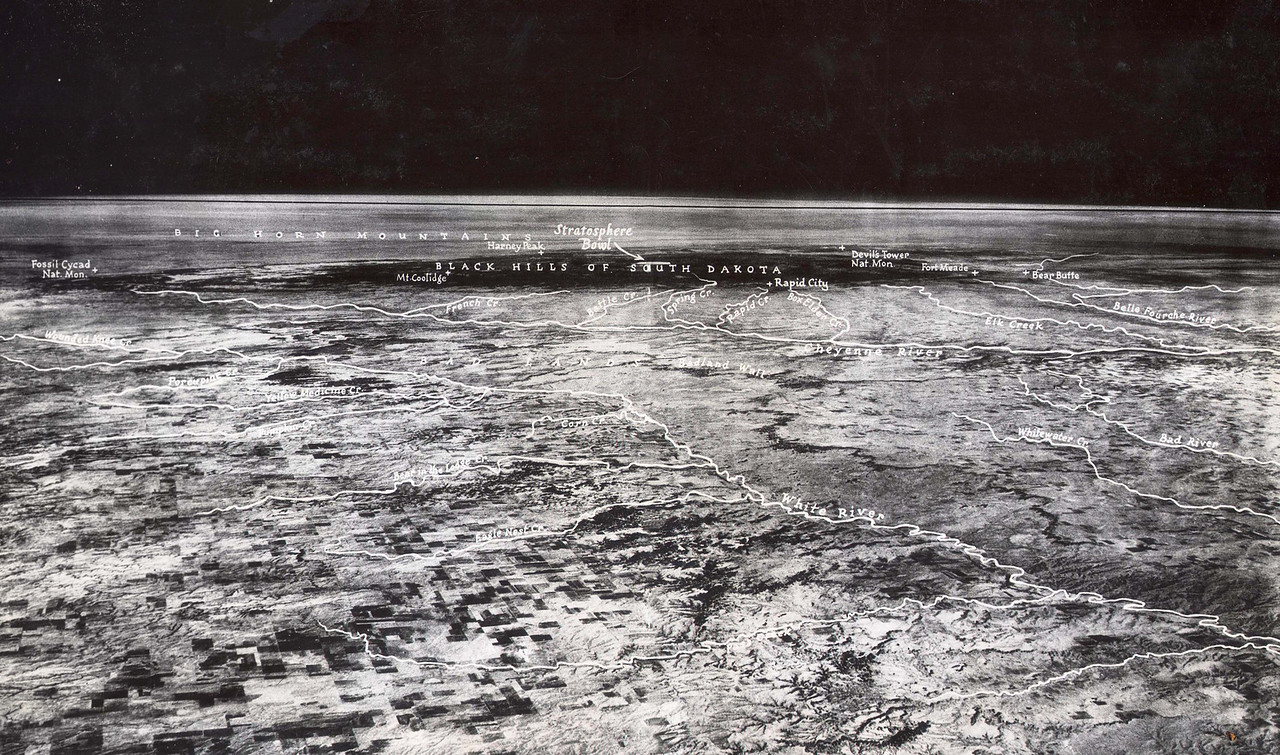 Taken from a high altitude balloon 72,395 above White River, South Dakota in 1935, this remarkable photo was the first to show the curvature of the earth.  <b><i>Explorer II</i></b> was launched from the Stratobowl east of Rapid City in a joint effort by the U. S. Army Air Corps and the National Geographic Society.  Take a closer peek at this image by clicking on the photograph and choosing one of the many size options at the top of the page.  Enjoy!  Thanks to Jerry Bryant of the Lawrence County Historical Society for sharing these great historic photos.