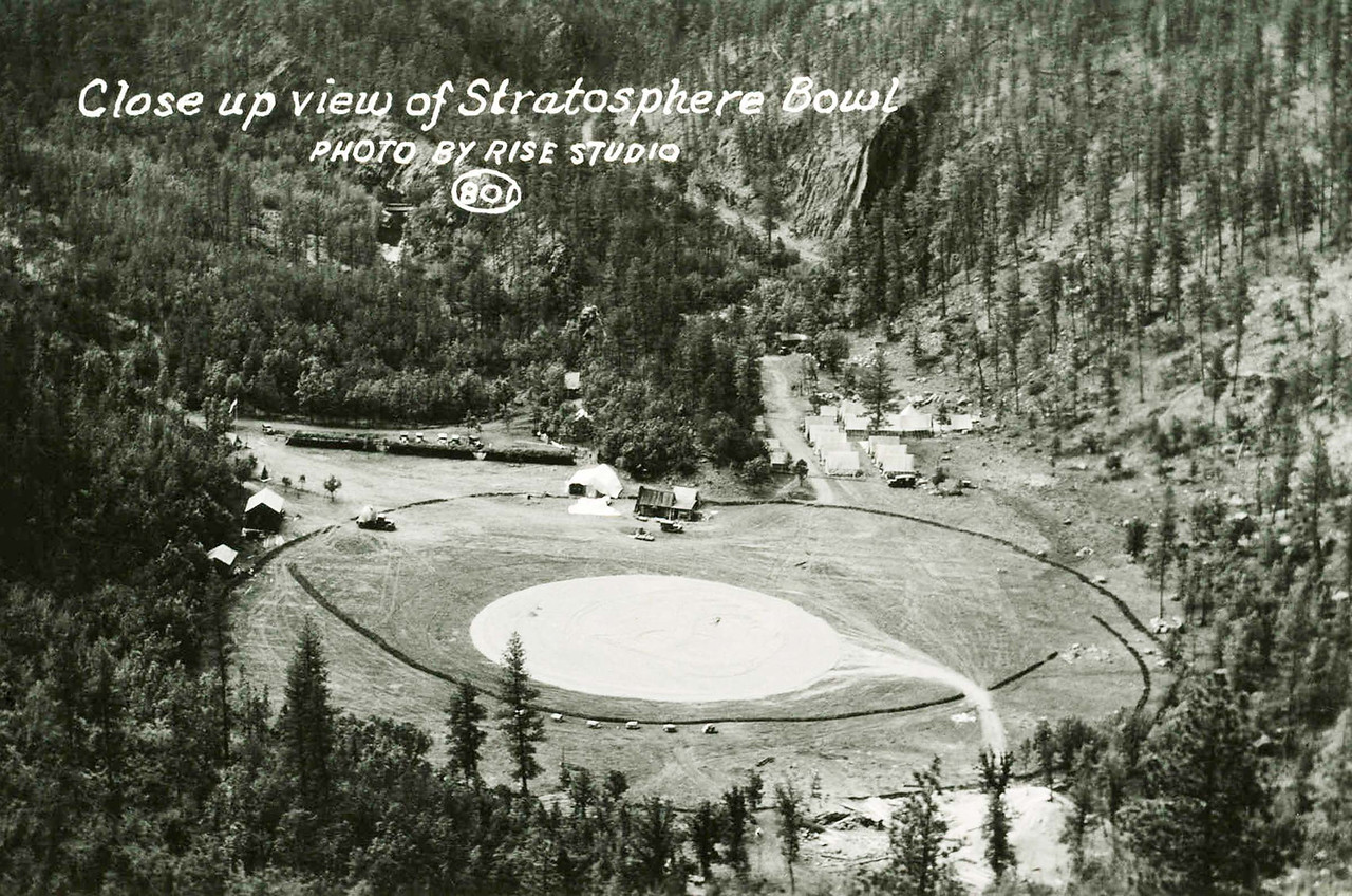 This undated photo was likely taken in the mid-1930's when Explorer I and II took place.<br /> <br /> Fadness noted that the area became something of a community.  Notice the many tents and vehicles in the vicinity.