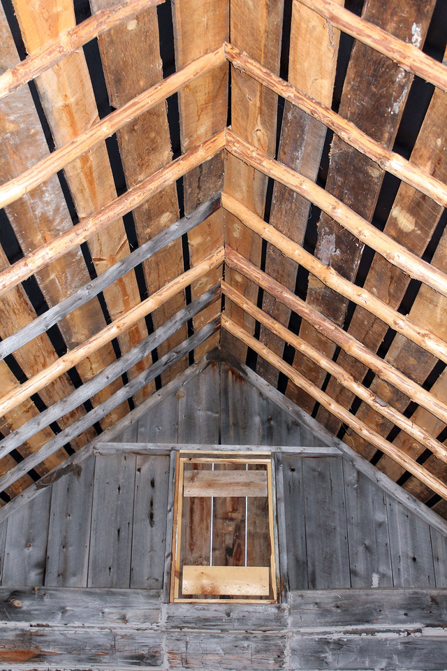 The newly-restored roof on the cabin provides a bit of blessed reassurance that it won't come tumbling down!
