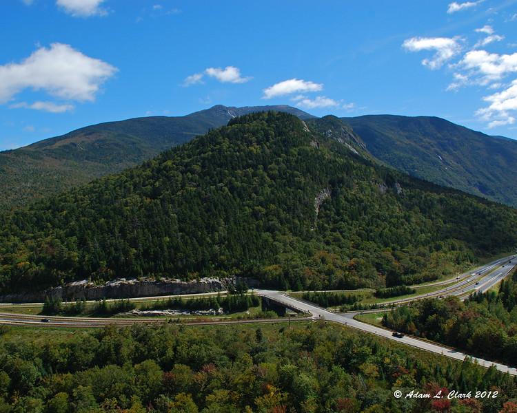 Looking over the highway towards Mt. Lafayette