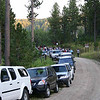 <b>SEPTEMBER 5, 2009 -- <i>BALD EAGLES</i></b>    As the number of hikers has grown, so has the challenge of parking for <i>Moon Walk</i> participants.  Nonetheless, parking arrangements for the final Black Hills National Forest <i>Moon Walk</i> of 2009 worked well.  This was the final approach to the <i>Moon Walk</i> staging area on the north shore of Deerfield Lake, located about 18 miles west of Hill City, South Dakota.