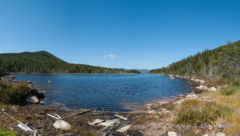 Panoramic shot of Norcross Pond with Mt. Anderson on the left.  Mt. Nancy is on the right and mostly out of sight in this picture