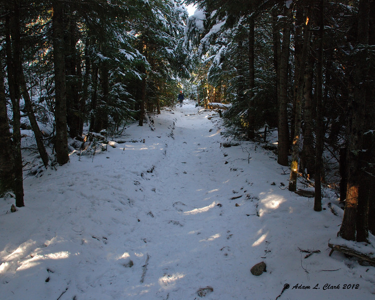Heading back down the trail after enjoying the summit.  Much of the trail was once and old carriage road