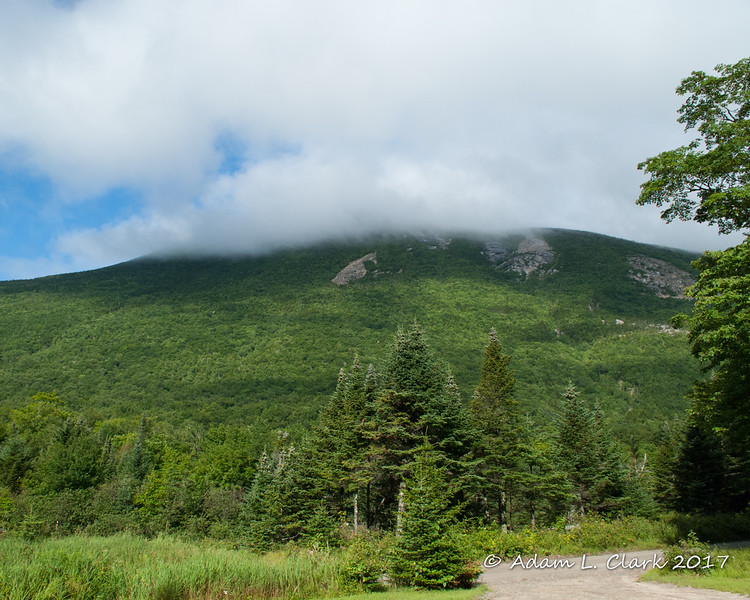 The peak(s) of Doubletop Mtn are in the clouds on the other side of the Tote Road and Nesowadnehunk Stream