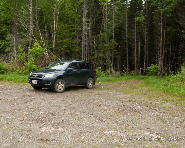 Parking at a logging landing.  This small pull off provides room to get off the road