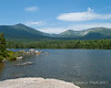 View of Mt. Katahdin from the big rock viewing area of Sandy Stream Pond