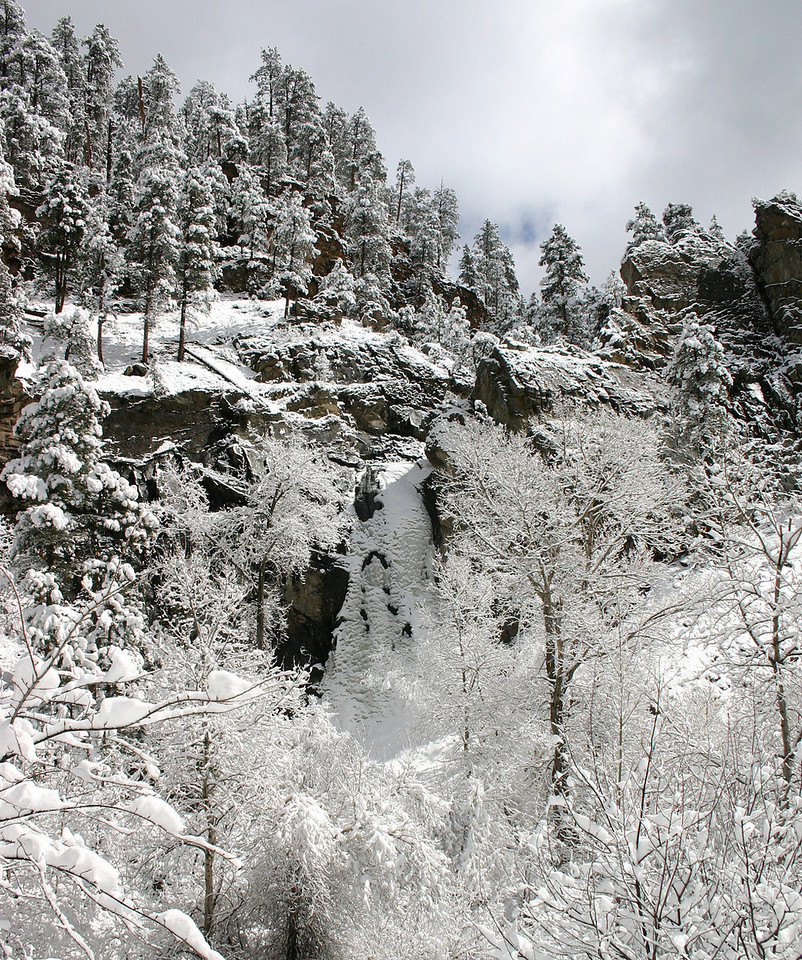 The snow and ice -- combined with cloudy skies -- render Bridal Veil Falls almost indistinguishable from the surrounding canyons.