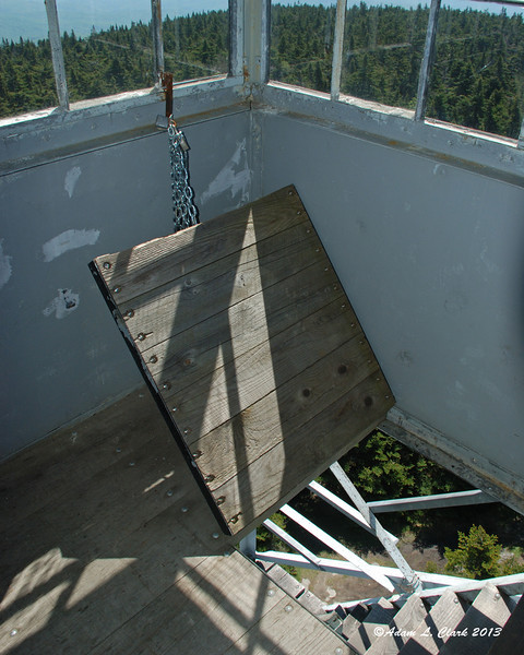 The hatch leading into the fire tower