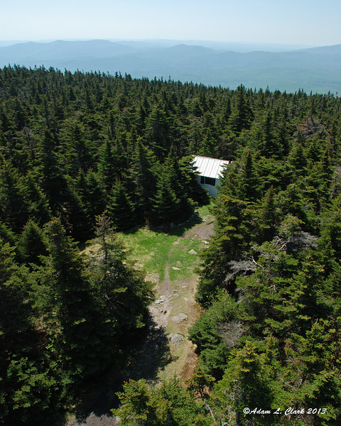 The small open area at the summit and the caretaker's building