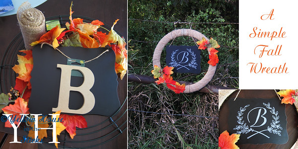 "This is a simple fall wreath I made that can be hung outside.  It's made with a metal wreath frame, chalkboard, & fake fall leaves.  I used hot glue to glue it all together.  I did the design on the chalkboard with a paint marker.  This was done the same way I've added graphics to furniture and signs, except instead of pencil on the back I used chalk to go over the letters on the back.  And the ""B"" I used on the wreath above instead."