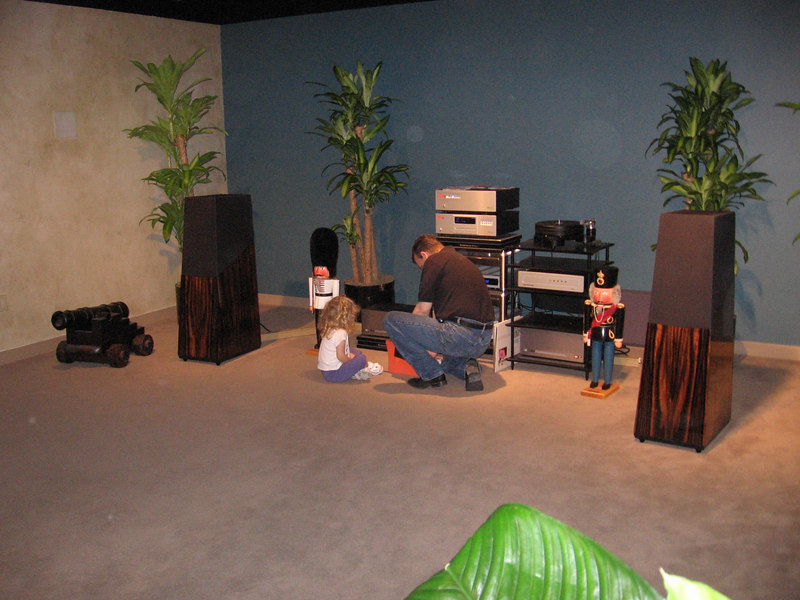 """The Vandersteen 5A's, with Michael Heusi assisted by his daughter. Go here for more information on Vandersteen speakers: <a href=""""http://www.vandersteen.com/"""">http://www.vandersteen.com/</a>"""