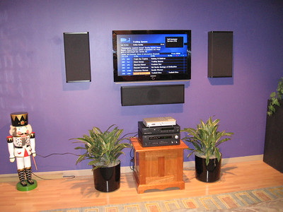 Vandersteen wall mount speakers in the entry lobby.