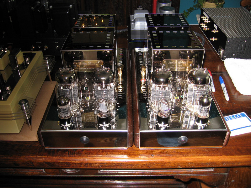 "Audio Mirror 40 watt parallel 6C33C monoblocks. Possibly the best value in audio today <a href=""http://www.audiomirror.com/"">http://www.audiomirror.com/</a>"