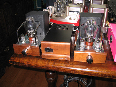 Wayne's Dared 300B quasi monoblocks share a common power supply.