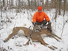 During the January doe only season, Dan takes down two mature does with ONE SHOT!!!  No joke here, pass through on the first and the slug caught the 2nd doe in the head!  Check out the next pic.